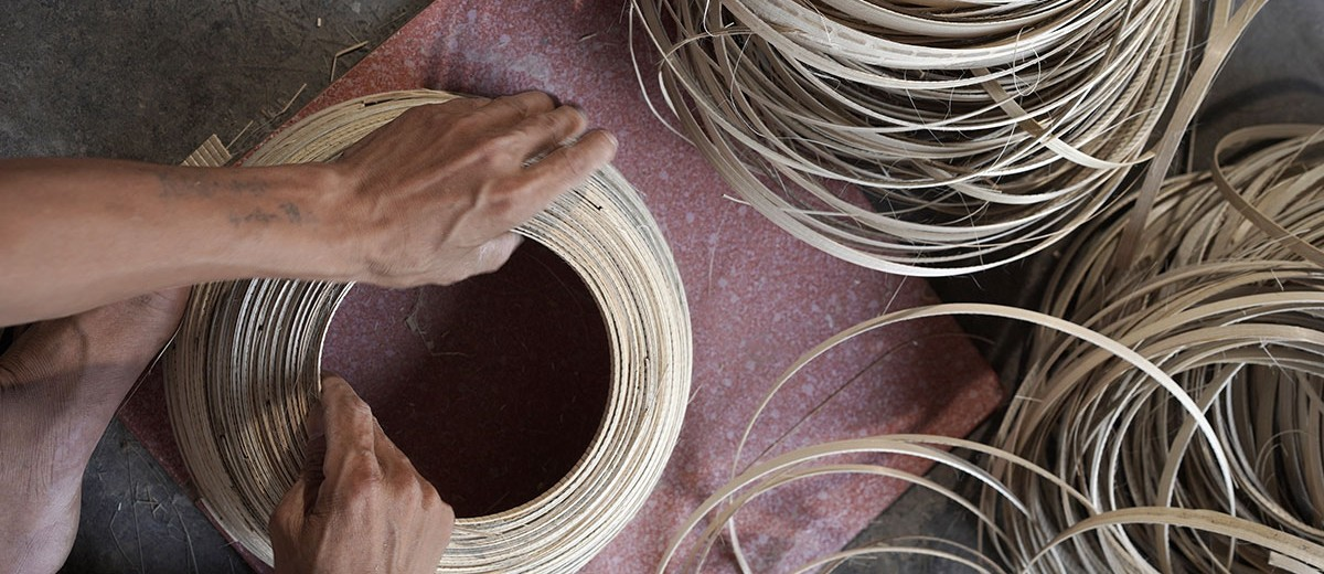 Bamboo bowl manufacture